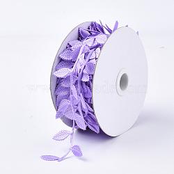cordons de tissu, Accessoires d'ornement, feuille, lilas, 42 mm; sur 20 m / rouleau(FIND-T057-10D)