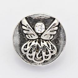 Plat rond sculpté ange argent antique boutons zinc bijoux en alliage d'accrochage, avec une teneur de strass grade A, Sans cadmium & sans nickel & sans plomb, cristal, 13x7 mm; bouton: 4.5 mm(SNAP-O020-48-NR)