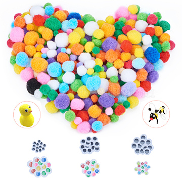 PandaHall Elite Pom Pom Balls, Wiggle Googly Eyes Plastic Cabochons, for DIY Doll Creative Crafts Decorations, Mixed Color, 10mm(AJEW-PH0016-24)