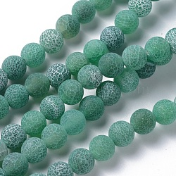 Natural Crackle Agate Beads Strands, Dyed, Round, Grade A, Green, 8mm, Hole: 1mm; about 50pcs/strand, 14