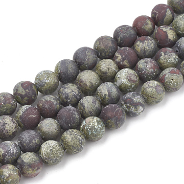 Natural Dragon Blood Stone Beads Strands, Frosted, Round, 12mm, Hole: 1.5mm; about 30pcs/strand, 15.5inches(G-T106-145)