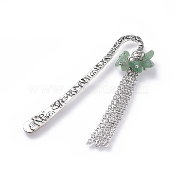 Tibetan Style Alloy Bookmarks, with Natural Green Aventurine Chip Beads and Brass Cable Chains, 79.5mm(AJEW-JK00153-05)