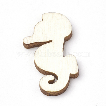 Wooden Cabochons, Laser Cut Wood Shapes, Sea Horse, PapayaWhip, 30.5x16.5x2.5mm(X-WOOD-S040-67)