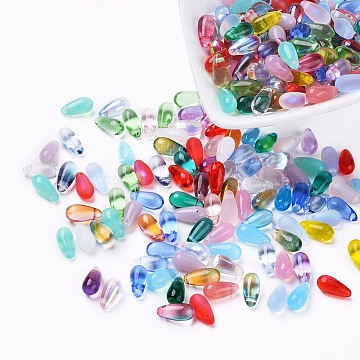 Czech Glass Beads, Electroplated/Dyed/Transparent/Imitation Opalite, Top Drilled Beads, Teardrop, Mixed Color, 10.5x5mm, Hole: 0.8mm; about 357~363pcs/bag(GLAA-G070-11C)