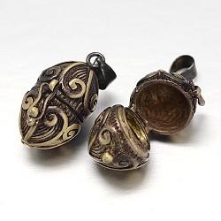 Rack toupie sculpté boîte laitonnage de prière pendentifs, boîte souhaiter, sans nickel  , bronze antique, 24x16x14mm, Trou: 5x3mm(KK-L101-23AB-NF)