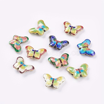 Handmade Cloisonne Beads, Butterfly, Mixed Color, 17x23x5mm, Hole: 2mm(CLB-S002-50)