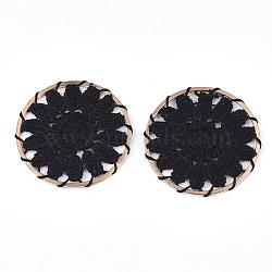 décorations de pendentif tissées de polyester, avec les conclusions de fer, plat et circulaire avec fleur, or et de lumière, noir, 33x2 mm(FIND-S283-07A)