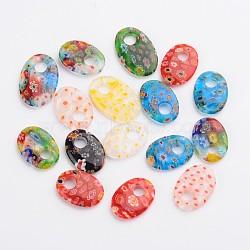 main ovale pendentifs en verre de millefiori, couleur mélangée, 24~30x17~20x4~6 mm, trou: 5~6 mm(X-LAMP-F004-28)