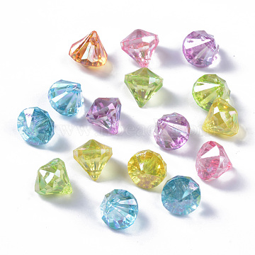 Transparent Acrylic Charms, AB Color Plated, Faceted, Diamond Shape, Mixed Color, 12x11mm, Hole: 1.6mm(X-TACR-Q270-017)