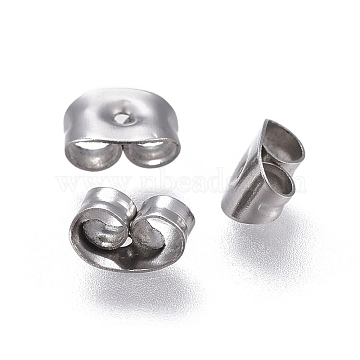 304 Stainless Steel Ear Nuts, Earring Backs, Stainless Steel Color, 6x4.5x3mm, Hole: 0.8mm(X-STAS-F203-04P)