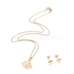 304 Stainless Steel Jewelry Sets, Cable Chains Pendant Necklaces and Stud Earrings, with Lobster Claw Clasps and Ear Nuts, Lotus, Golden, 18.11 inches(46cm); 7x10mm, Pin: 0.8mm(X-SJEW-I202-22G)