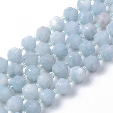 Natural Aquamarine Beads Strands, Round, Dyed, Faceted, 7~8x8mm, Hole: 1.2mm; about 38~40pcs/strand, 15.16inches(38.5cm)(G-R482-02-8mm)