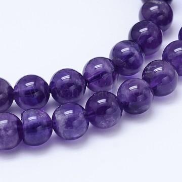 Natural Amethyst Beads Strands, Grade AB, Round, DarkSlateBlue, 6mm, Hole: 2mm(G-E487-92A)