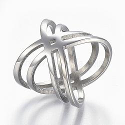 Bagues en 304 acier inoxydable, anneaux large bande, creux, taille 6~9, couleur inoxydable, 16~19mm(RJEW-E153-32P)