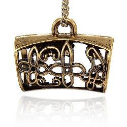 Liens de suspension en alliage, perles écharpe en liberté sous caution, tube avec motif de fleur, or antique, 25x32x19 mm, trou: 4.5 mm, diamètre intérieur: 15 mm(PALLOY-J080-5AG)