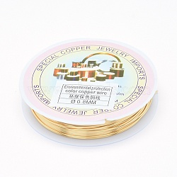 Environmental Copper Jewelry Wire, Long-Lasting Plated, 20 Gauge, 0.8mm, 2.6m/roll(X-CWIR-P001-01-0.8mm)