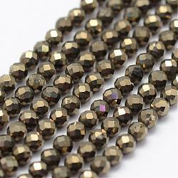 Chapelets de perles de pyrite naturelle , facette, rond, 2mm, trou: 0.5mm; environ 175 pcs/chapelet, 14.9'' (38 cm)(G-K185-03)