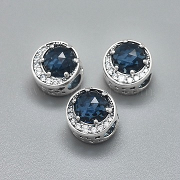 925 Sterling Silver European Beads, with Cubic Zirconia, Large Hole Beads, Column, Clear & Marine Blue, Antique Silver, 12x12mm, Hole: 4.5mm(STER-I019-11AS)