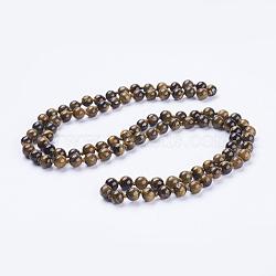 натуральный тигровый глаз бисерные ожерелья, вокруг, 60 (152.4 см)(NJEW-P202-60-A31)