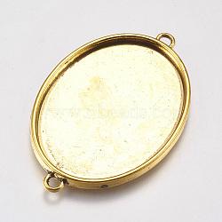 тибетского стиля кабошон параметры соединителя, чашки безель с краем, свинца и никеля бесплатно, плоский овал, античные золотые, 50x33x3 mm, отверстия: 3 mm, лоток: 40x31 mm(X-TIBE-A124206-AG-FF)