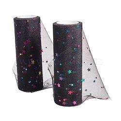 Filet à paillettes d'étoiles, Tissu à carreaux en tulle pour la fabrication de jupe, noir, 6'' (15.24 cm); environ 10 mètres / rouleau (9.144 m / rouleau)(OCOR-BC0006-04O)