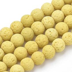 """Chapelets de perles de lave naturelle, teint, rond, jaune de champagne, 10mm, trou: 1mm; environ 41 pcs/chapelet, 15.75"""" (40 cm)(X-G-S277-10mm-18)"""