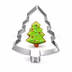 304 emporte-pièces en acier inoxydable, moules à biscuits, outil de cuisson biscuit, arbre de Noël, couleur inox, 74x57 mm(DIY-E012-62)