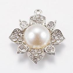 Pendentifs en alliage avec strass, avec la perle acrylique, fleur, platine, 32x29x8mm, Trou: 2mm(PALLOY-E447-24P)