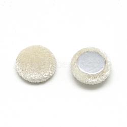 Cabochons couverts de tissu de velours, avec fond en aluminium, demi-rond / dôme, corail, 15x5.5mm(X-WOVE-S084-11H)