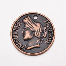 De style tibétain pendentifs tête humaine portrait de pièces de monnaie, sans plomb et sans cadmium et sans nickel, rond et plat avec des hommes, cuivre rouge, 27x3.5mm, Trou: 2mm(RLF9380Y-NF)
