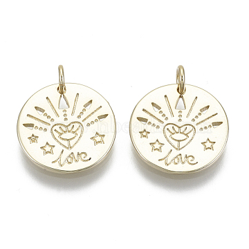 Brass Pendants, with Jump Rings, Flat Round with Word Love, Nickel Free, Real 16K Gold Plated, 15x1.5mm, Hole: 3mm(X-KK-R137-003-NF)