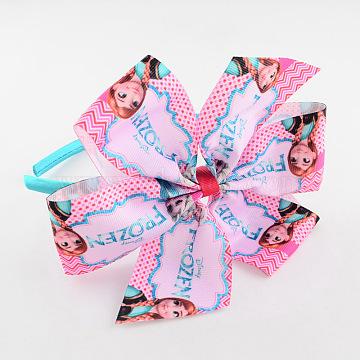 Girls' Kawaii Flower Hair Bands, Plastic Hair Bands with Printed Grosgrain Ribbon, Pink, 115mm(OHAR-R212-01)