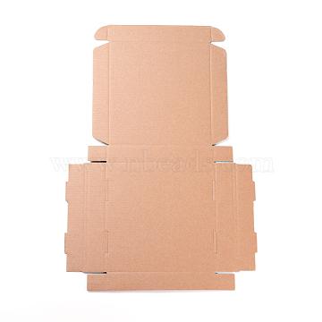Kraft Paper Folding Box, Square, Cardboard box, BurlyWood, 45x31x0.2cm; Finished Product: 18x18x3cm(CON-F007-A09)