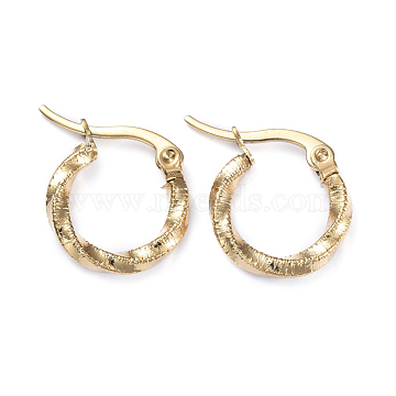 201 Stainless Steel Hoop Earrings, with 304 Stainless Steel Pins, Twisted Ring Shape, Golden, 14.5x2.5mm, Pin: 1x0.7mm(X-EJEW-I245-02G)