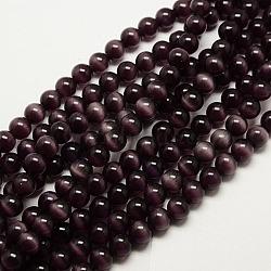 """Perles d'oeil de chat, rond, indigo, 6mm, trou: 1mm; environ 66 pcs/chapelet, 15.5""""(X-CER02)"""