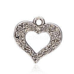 Пластмассовые подвески ccb, сердце, античное серебро, 24.5x25x5 мм, отверстие : 2.5 мм(CCB-F006-71AS)