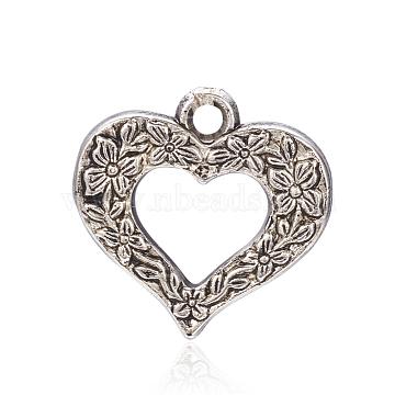 CCB Plastic Pendants, Heart, Antique Silver, 24.5x25x5mm, Hole: 2.5mm(CCB-F006-71AS)