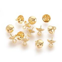 304 tasse en acier inoxydable poire perle bails broches pendentifs, pour la moitié de perles percées, or, 7x6mm, trou: 1.5 mm; broches: 0.7 mm(STAS-F188-25G)