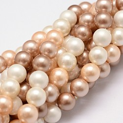 Polished Shell Pearl Bead Strands, Grade A, Round, Mixed Color, 8mm, Hole: 1mm, about 24pcs/strand, 8 inches(20.32cm)(BSHE-F013-07B)