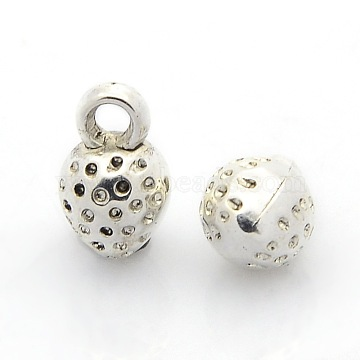 CCB Plastic Fruit Pendants, Strawberry Charms, Antique Silver, 11x7x7mm, Hole: 2mm(CCB-J030-23AS)