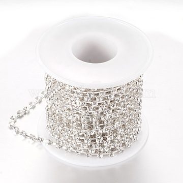 Brass Rhinestone Strass Chains, with Spool, Rhinestone Cup Chains, Silver Color Plated, Crystal, 2.8mm, about 10yards/roll(CHC-T002-SS12-01S)