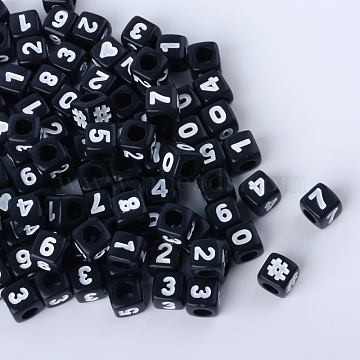 Opaque Acrylic European Beads, Large Hole Beads, Cube with Number, Black, 6.5~7x6.5~7x6.5~7mm, Hole: 4mm(X-SACR-Q126-03B)
