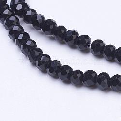 """Chapelets de perles en rondelles facettées en verre de couleur opaque unie, noir, 3x2mm, trou: 0.5mm; environ 140 pcs/chapelet, 13""""(X-EGLA-J047-3x2mm-07)"""
