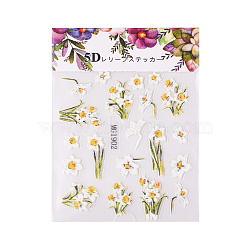 Nail Art Stickers, For Nail Tips Decorations, Flower, Colorful, 63x70.5x0.5mm(MRMJ-S025-004G)