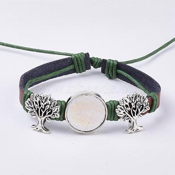 Genuine Cowhide Bracelet Making, with Alloy Cabochon Settings, Cadmium Free & Lead Free, Tree, Antique Silver, Olive, Tray: 18mm; 2 inches~2-1/8 inches(49~55mm); 8mm(X-MAK-I007-09AS-A)