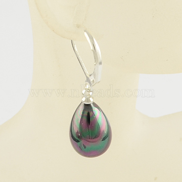 Dyed Shell Teardrop Earrings, with Alloy Finding, Black, 33mm, pin: 0.8mm(EJEW-R065-06)