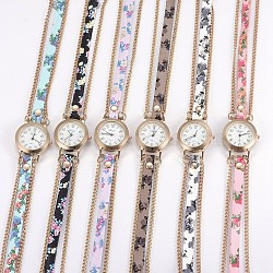 Alloy Watch Head Bracelet Watches, with PU Leather and Metal Findings, 3-Loop, Wrap Bracelets, Flat Round, Mixed Color, 23.2inches(59cm), 9mm(WACH-P017-R)