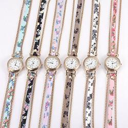 """Montre en alliage montres bracelet tête, avec cuir PU et accessoires en métal, 3-loop, Les bracelets d'enveloppe, plat rond, couleur mixte, 23.2"""" (59 cm), 9mm(WACH-P017-R)"""