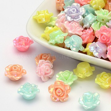 AB Color Plated Opaque Acrylic Flower Beads, Mixed Color, 13x8mm, Hole: 2mm(X-SACR-Q106-20)
