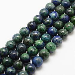Brins de perles de chrysocolla et lapis lazuli naturelles, rond, teint, 8mm, trou: 1mm; environ 48 pcs/chapelet, 15.7''(G-G735-07-8mm)